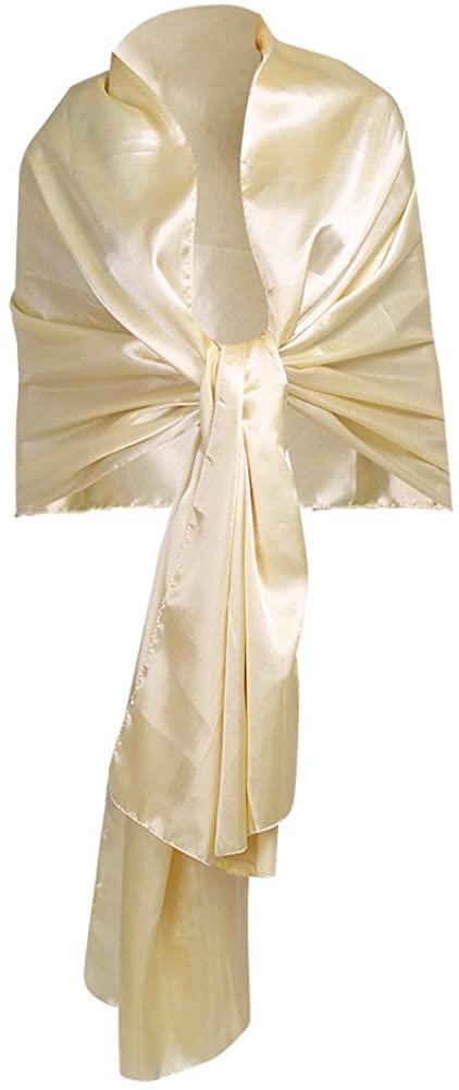iEFiEL Women Versatile Bridal Evening Dress Satin Shawl Elegant Wrap Scarf