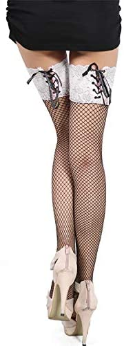 Ealafee Women's Sexy Lingerie Pantyhose Lace Top Thigh High Fishnet Stockings