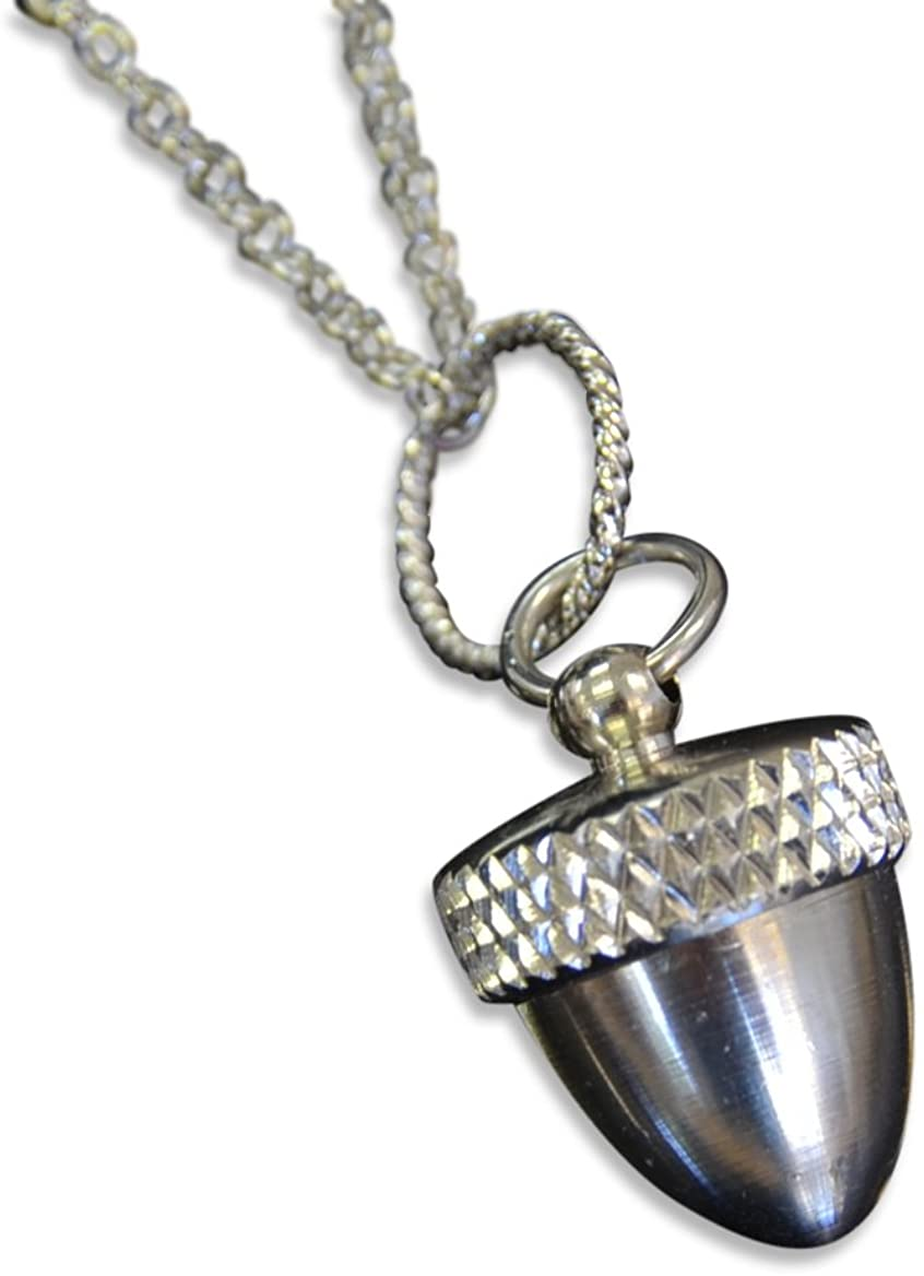 Gwendelicious Stainless Steel Acorn Capsule Pendant Necklace - Screw Top Cremation Ashes Jewelry