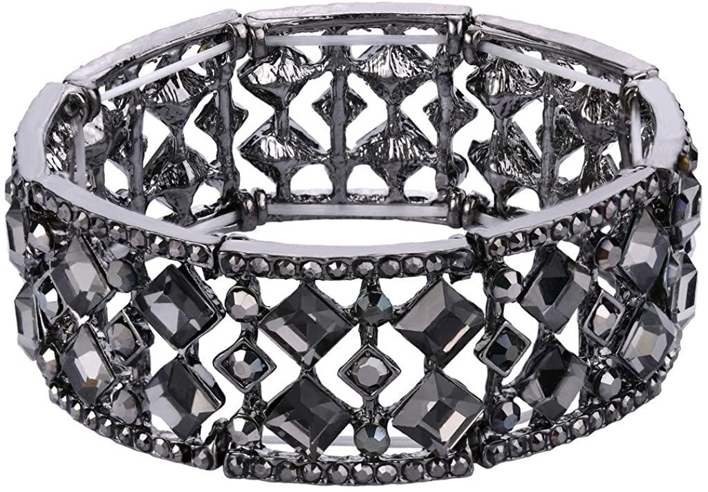 BriLove Womens Bohemian Boho Crystal Radiant Cut Round Beaded Stretch Bangle Bracelet