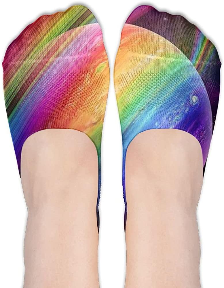 Womens Rainbow 19 (2) Casual Liner Athletic Running Socks Non Slip Flat Boat Line Girl Thin Anti-Slip 3D Printed Socks