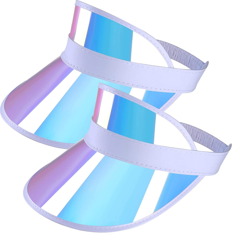 Iridescent-Visor-Hat PVC-Plastic Face-UV-Shield Sun-Protection (Plastic White, Free)