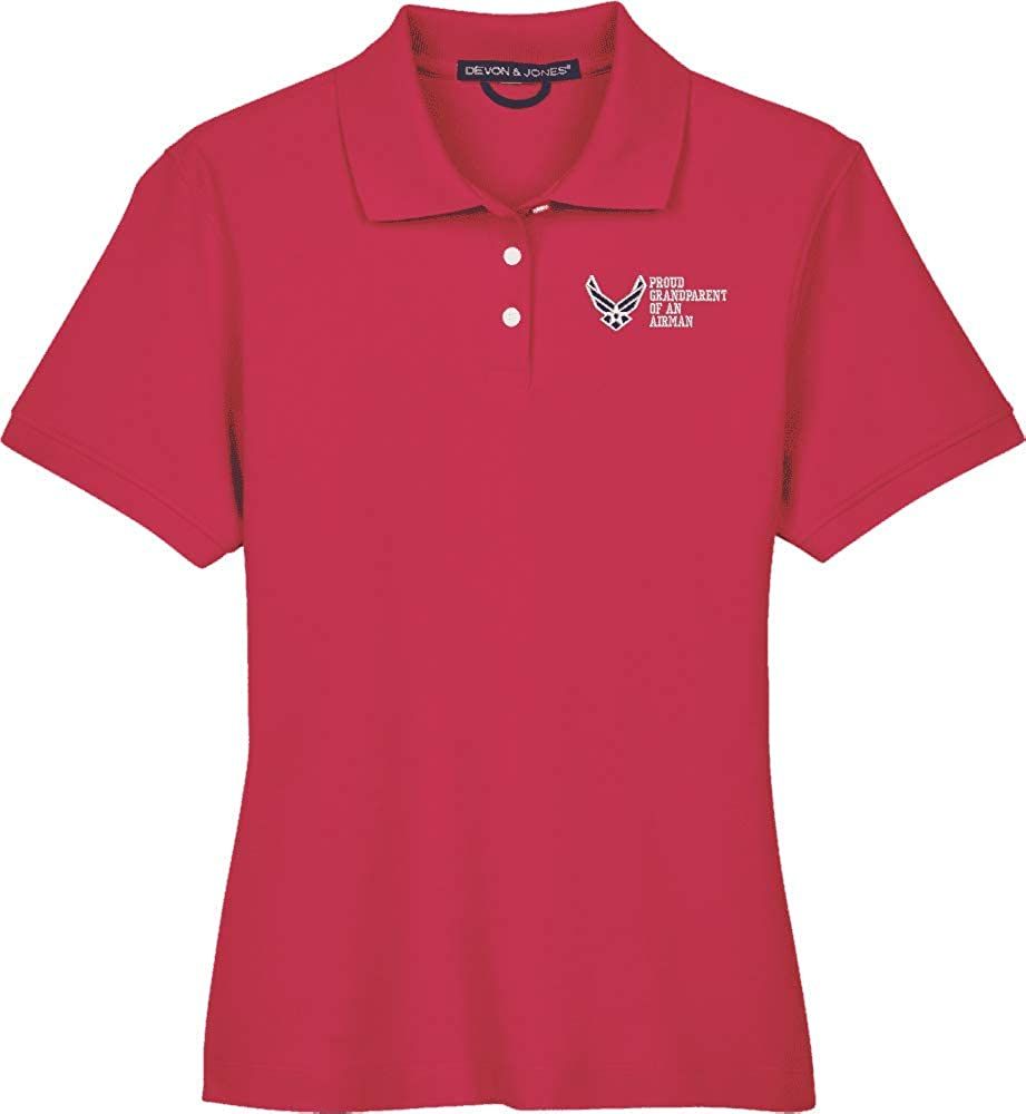 United States Air Force Hap Wings Proud Grandparent of an Airman Women's Devon & Jones Polo Red
