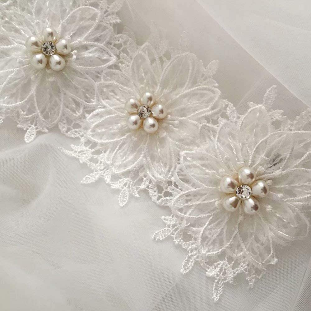 WEIFAN Double Wedding Veil - Cathedral Bridal White Veil -About 80cm, Vintage Lace Flower Covered Veil - Wedding Trip to take Small Pearl Veil