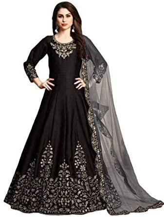 Black Art Silk Designer Indian Bollywood Anarkali Salwar Suit Muslim Women 9619