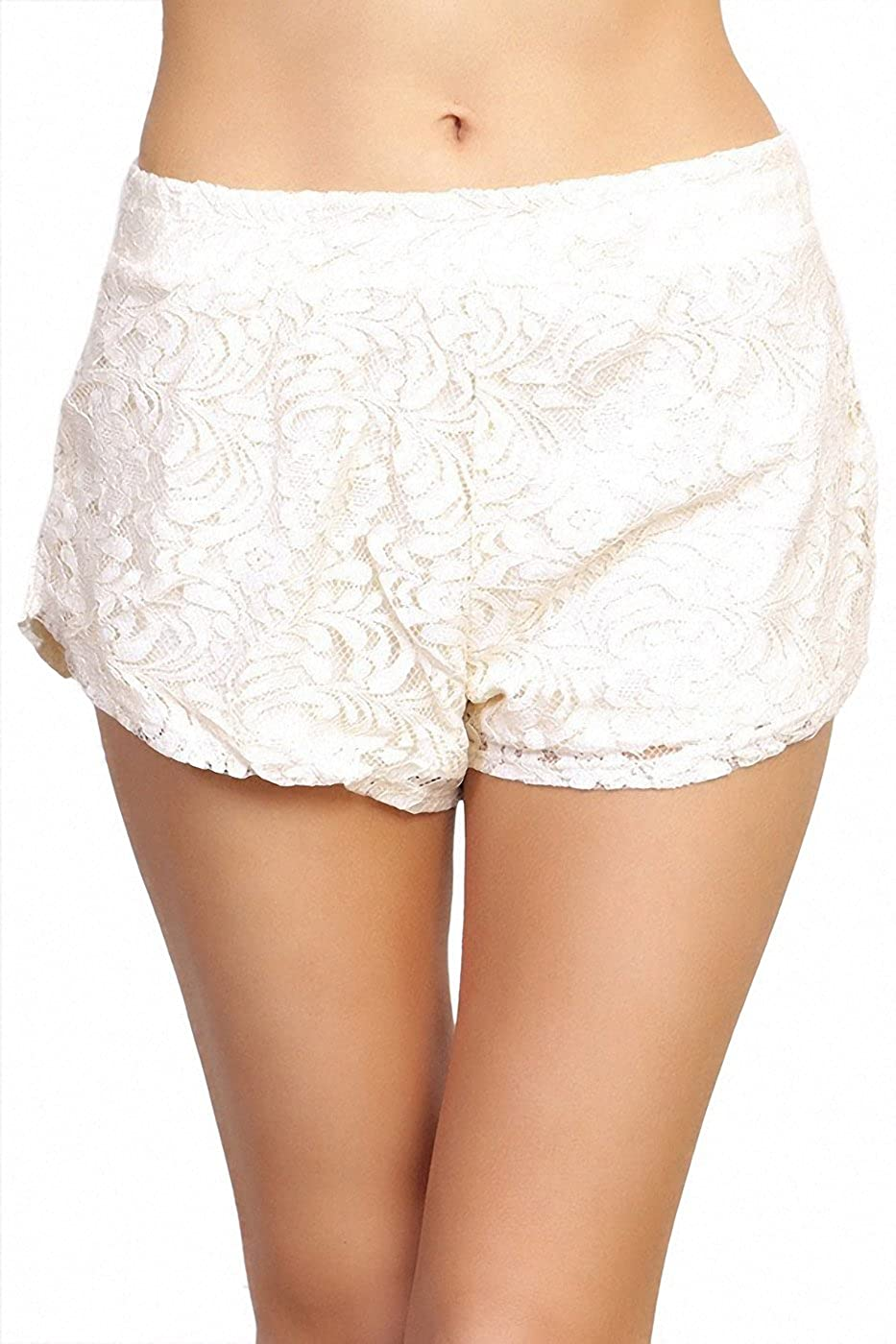 ToBeInStyle Womens Intricate Lace Detail Shorts