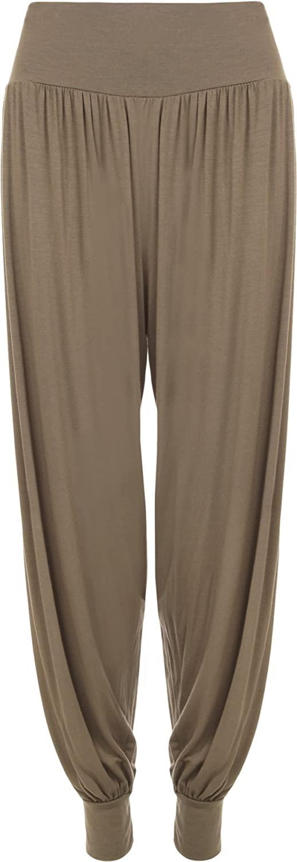WearAll Women's Plus Size Plain Harem Trousers Pants - Mocha - US 16-18 (UK 20-22)