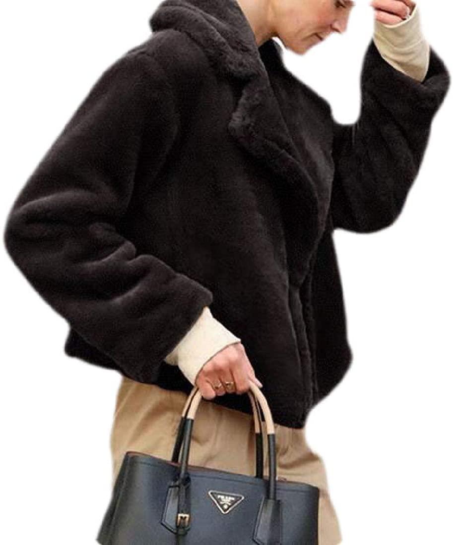 JYZJ Womens Faux Fur Coats Jackets Loose Fit Open Front Fluffy Outdoor Coat Jacket