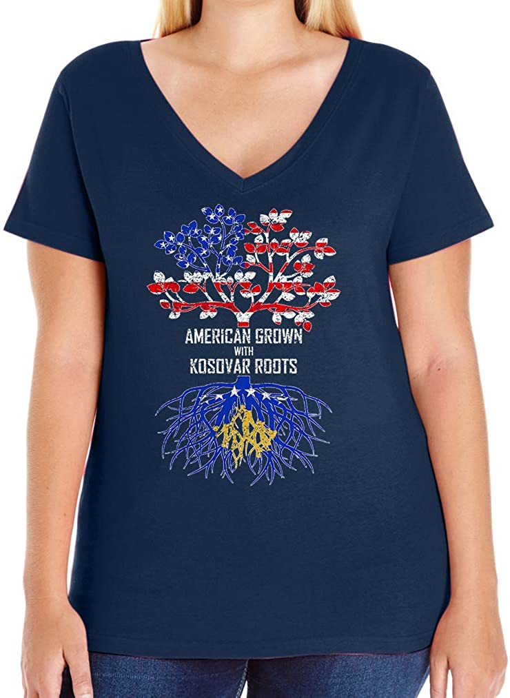 Tenacitee Women's American Grown with Kosovar Roots V-Neck T-Shirt