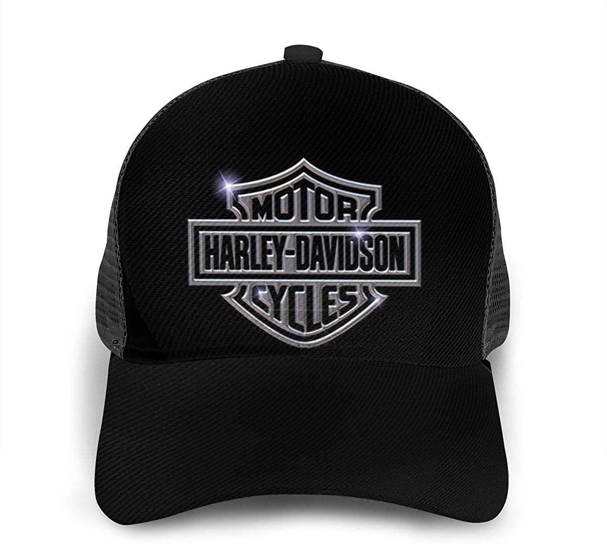 Ha-Rl-Ey Da_Vid_Son Top Fashion Men Women Athletic Baseball Fitted Cap Mesh Back Hat Plain Hat Black