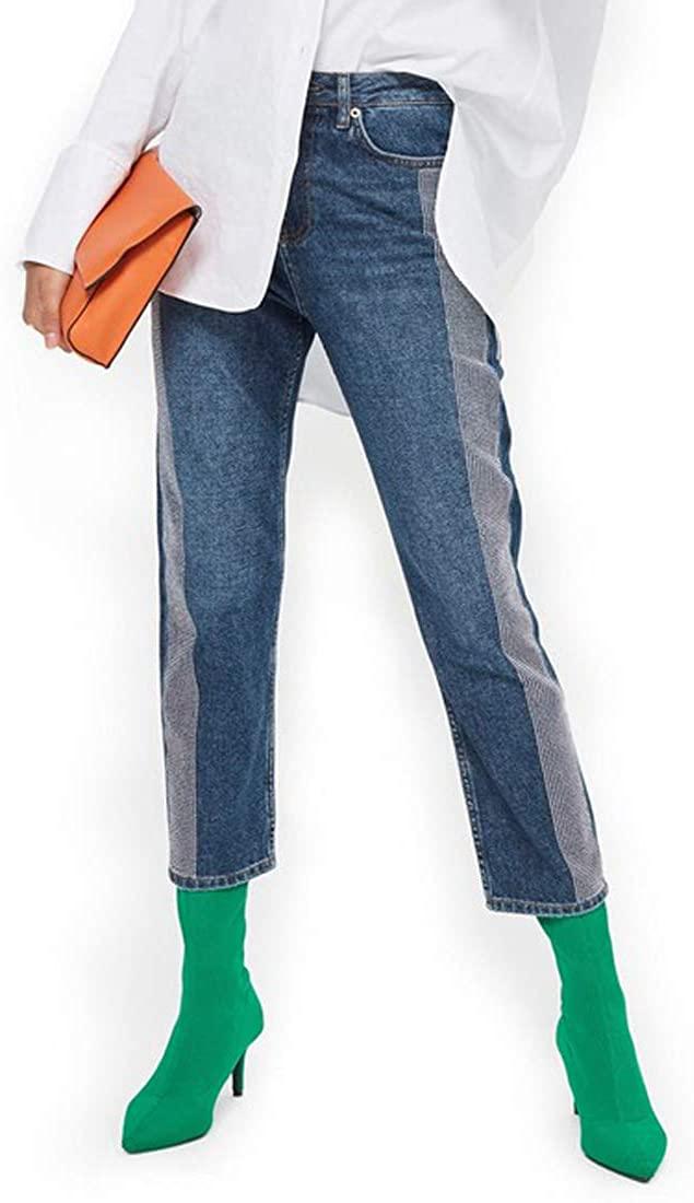 Top Shop Diamante Stripe Straight Leg Jeans, Mid Denim, W32 L30