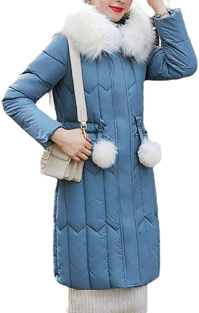 Fashion Womens Long Down Coat with Fur Hood Maxi Down Parka Puffer Jacket