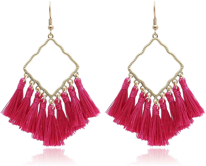 Vintage Boho Square Metal with Tassels Dangle Drop Earrings for Women