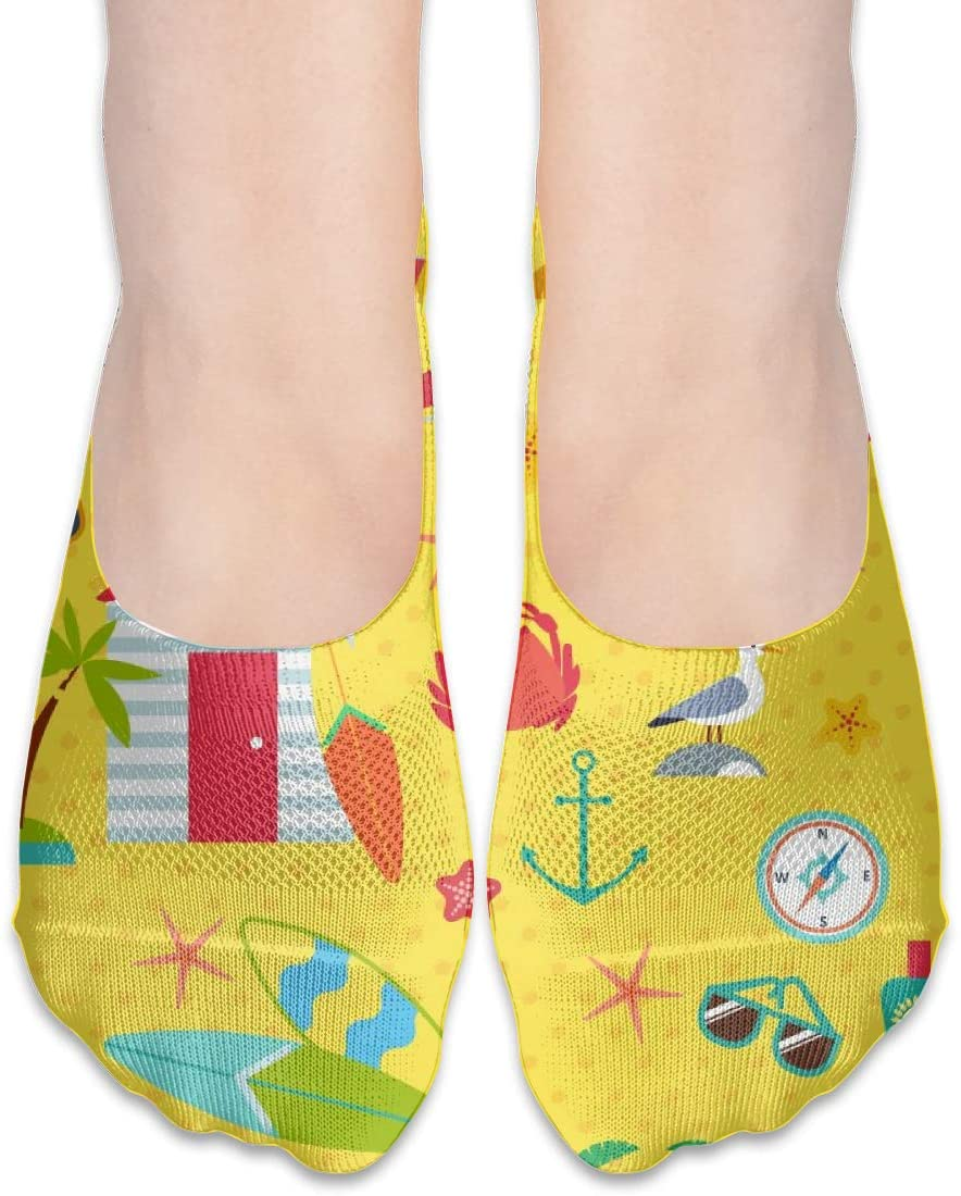 FriendEver No Show Socks,Summer Beach Pattern Casual Invisible Flat Socks,Breathable Anti-Odor Low Cut Women Cotton Sox,Non Slip Liner Sock