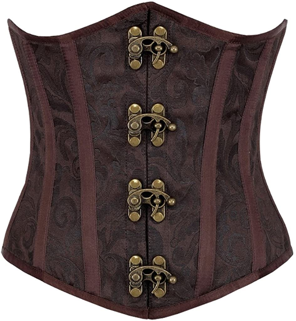 Lotsyle Women Underbust Printing Steel Corset Lace Up Back Bustier