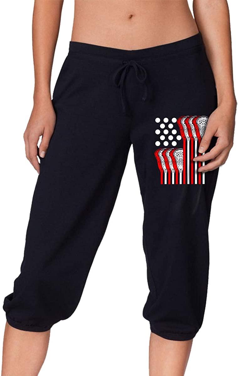 USA Lacrosse Flag Women's Stretch Workout Knee Pants Yoga Pants