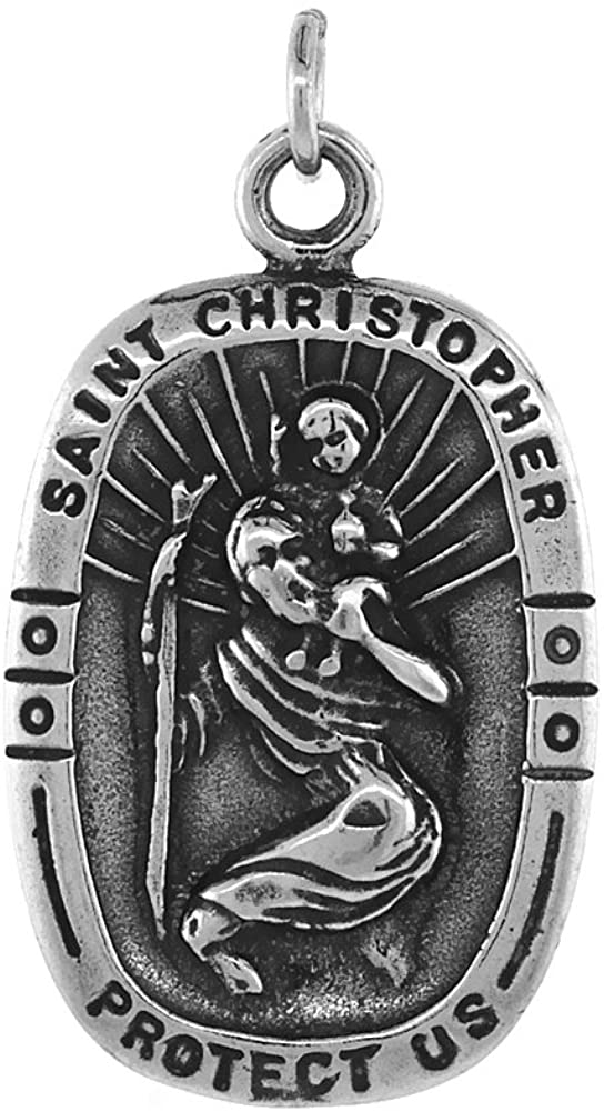 Sterling Silver St. Christopher Necklace Antiqued Finish 3/4 inch, 16-30 inch 1.2 mm Box Chain