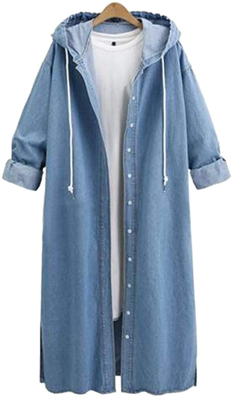 H.S.D Long Jean Denim Casual Jacket Denim Windbreaker Outwear Coat Hooded Long Sleeve