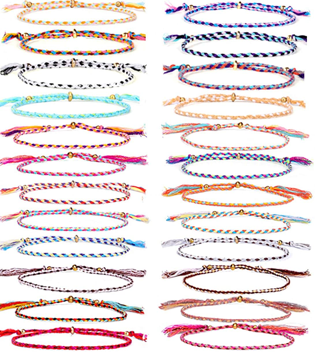 WAINIS 24 Pieces Friendship Sting Bracelets for Women Handmade Wrap Braided Colorful Wrist Cord Adjustable Birthday Gifts-Party Favors