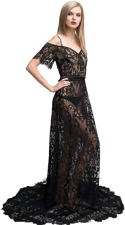 Long Black Lace Nightgown Bridal Black Sexy Lingerie Sleepwear Lace Pajama