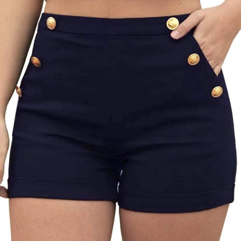 Women Plus Size Shorts Zipper Elastic Band Hot Pants Lady Summer Casual Short Pants Trousers