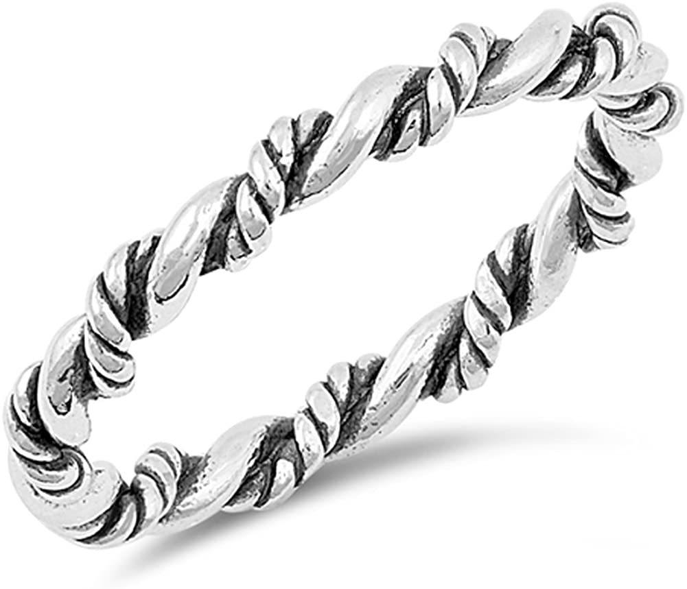 Oxidized Rope Twist Stackable Knot Ring New .925 Sterling Silver Band Sizes 4-10