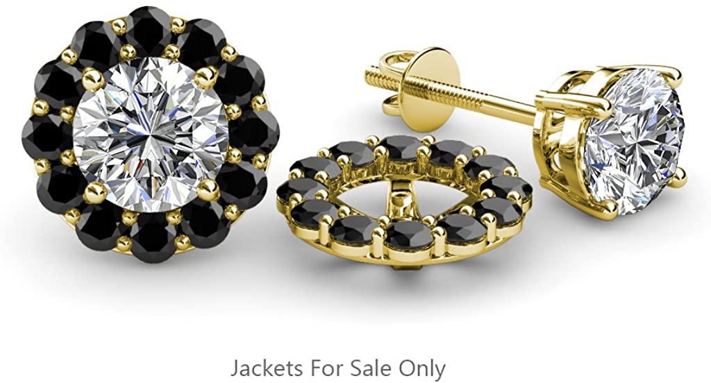 TriJewels Black Diamond Halo Jacket for Stud Earrings 0.57 ct tw in 14K Yellow Gold
