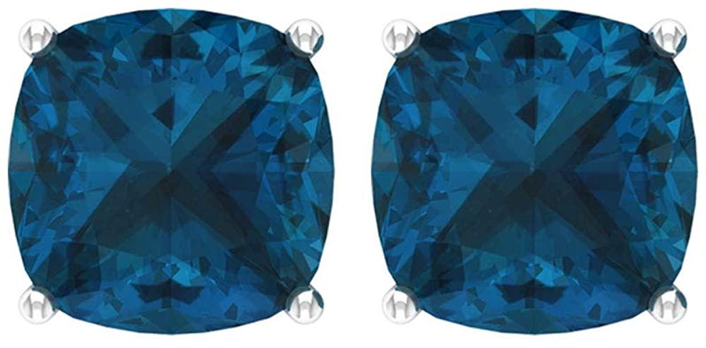 Blue Topaz London Stud Earring,4.2 Ct Cushion Cut Gemstone Earring, Solitaire Statement Earring, Women Anniversary Earring, Partywear Earring, Screw back