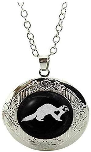 Beautiful Ferret Glass Locket Necklace Cute Pet Lover Gift Pet Memorial Jewellery Art Nouveau Beautiful Gifts