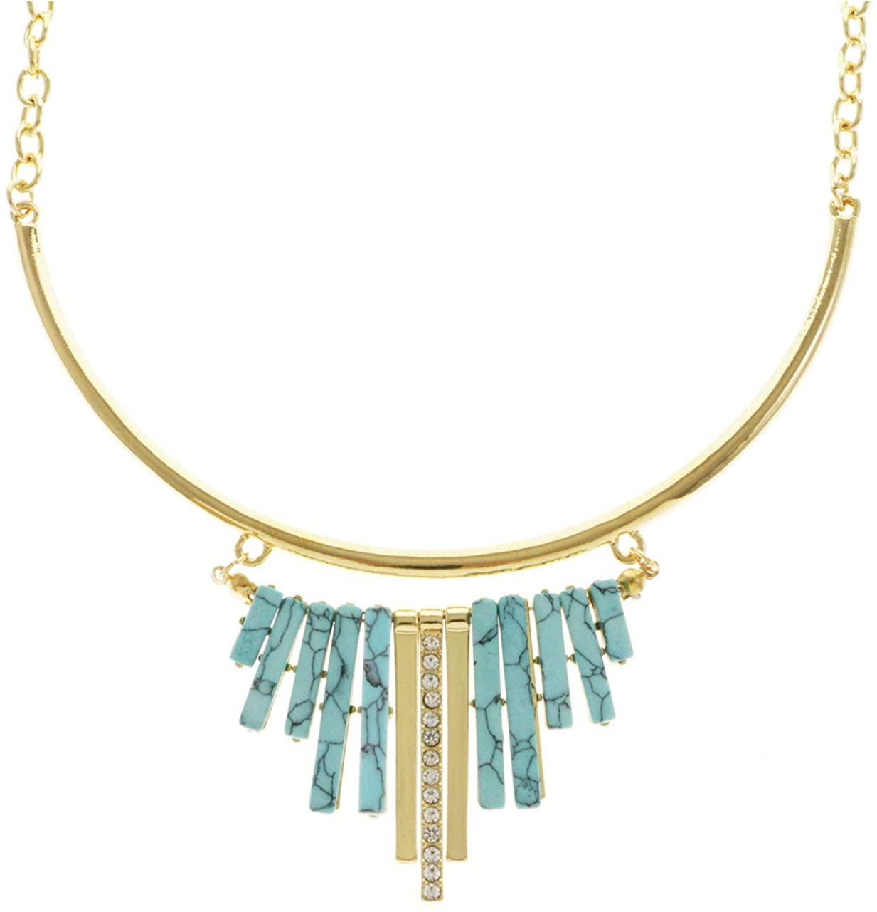 Erica Lyons Velvet Gift Bag Turquoise Crystal Collar-Necklace Gold-Tone & Blue