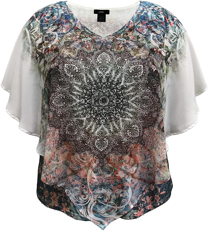 LEEBE Women's Plus Size Double-Layered Print Chiffon Poncho Blouse Top (1X-5X)
