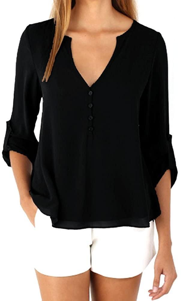 GREFER Women V Neck Casual Blouse Long Sleeve Chiffon T Shirt Tops Blouse