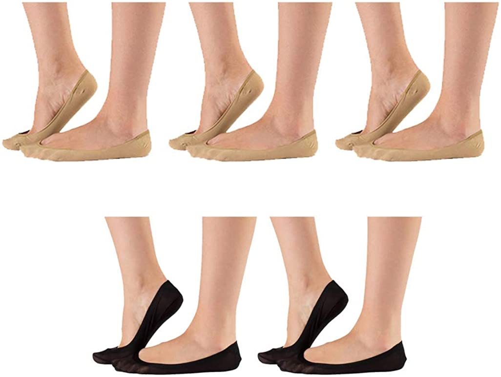 5 Pairs No Show Liner Socks Women's Low Cut Cotton Nylon Boat Invisible Hidden Socks Non-Slip for Flats