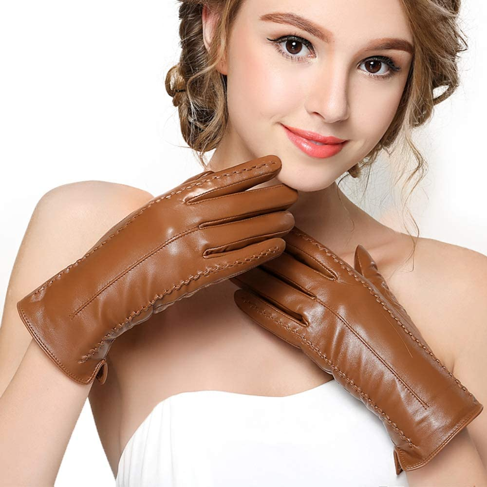 Women Lambskin Leather Gloves Candide Touchscreen Brown Velvet Gloves Handmade Warm Winter