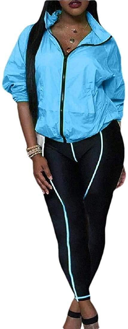 Qhghdgysd Womens 2 Piece Tracksuits Long Sleeve Zipper Jacket and Long Pants Set Sweatsuits