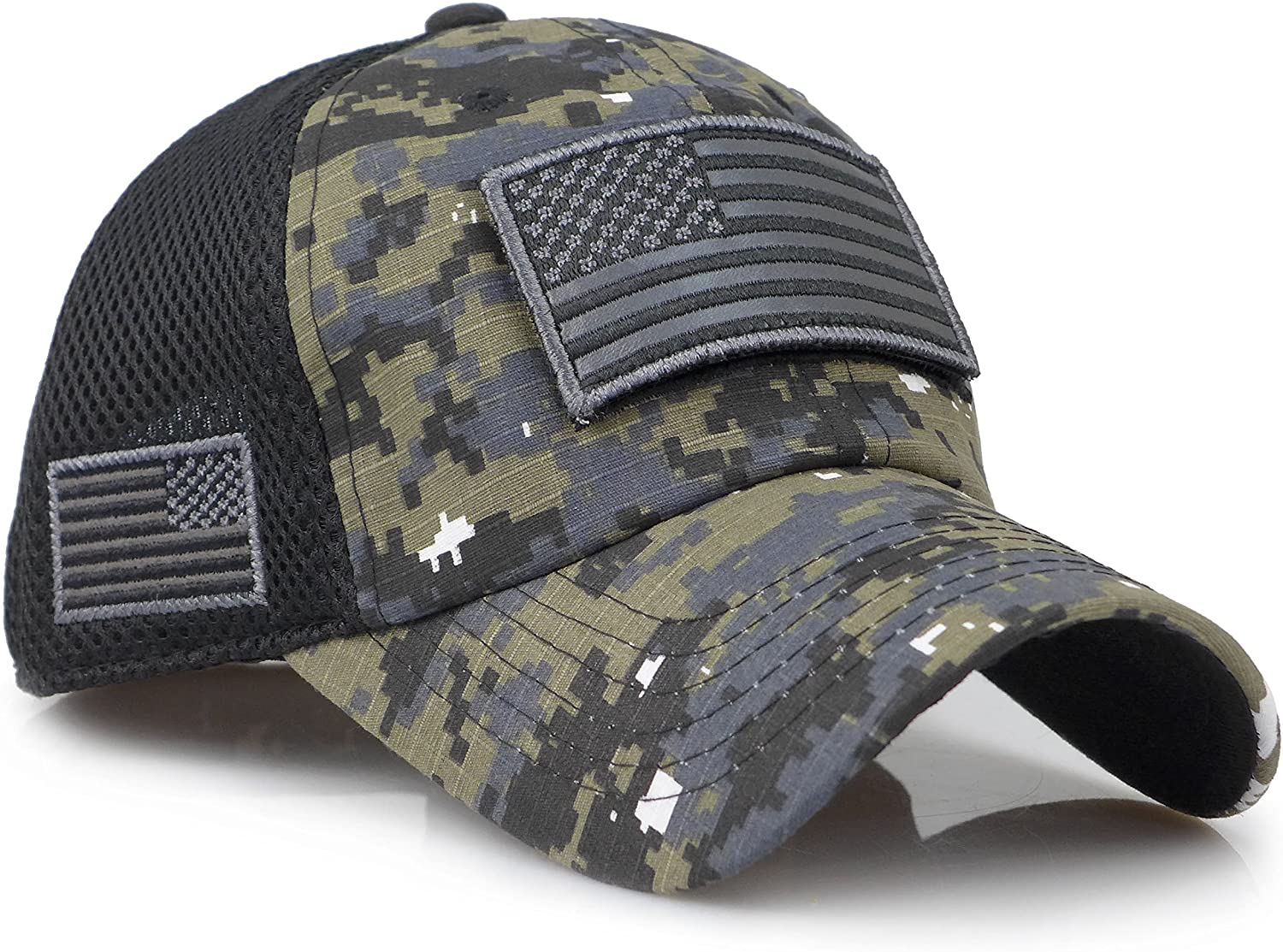 The Sox Market Camouflage Constructed Trucker Special Tactical Operator Forces USA Flag Patch Baseball Cap