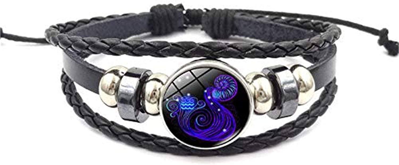Punk Retro Multi-Layer 12 Constellation Leather Bracelet Handmade Braided Zodiac Bangle for Women Men