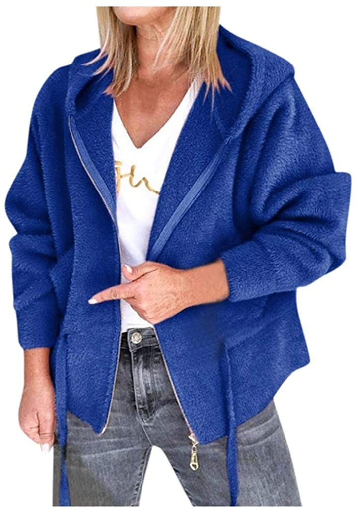 terbklf Womens Hooded Coats Waist Drawstring Hoodie Winter Warm Faux Fleece Plush Jacket Zip up Sweatshirts for Women