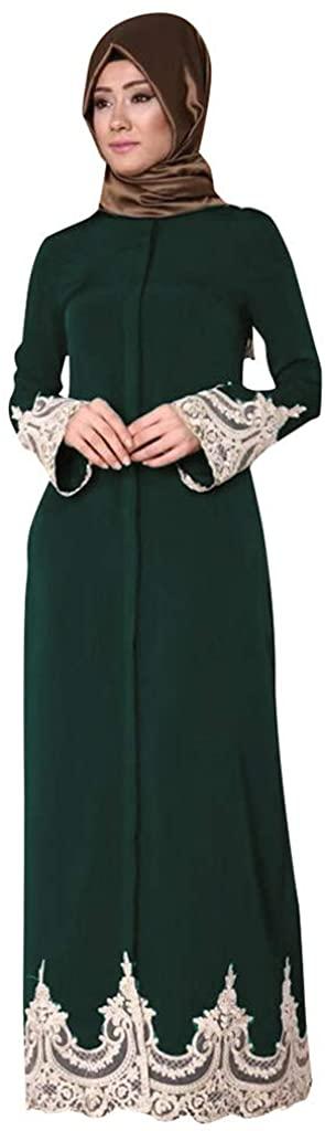 2019 New! Middle Eastern Turkish Dress,Muslim Women Fashion Lace Robe Loose Long Sleeve Maxi Dresses