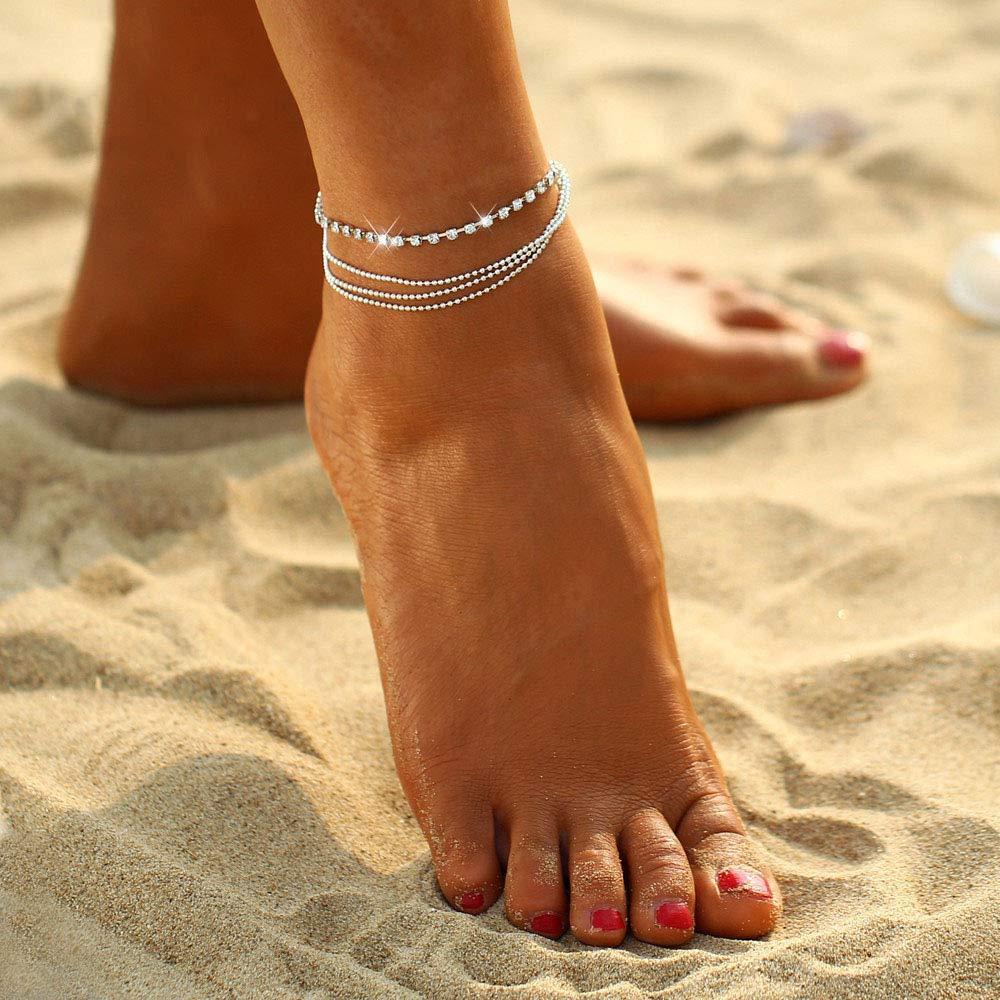 Artmiss Boho Women Rhinestones Anklet Bracelet Beaded Woven Silver Ankle Chain Double Barefoot Beach Anklet for Teen Girls