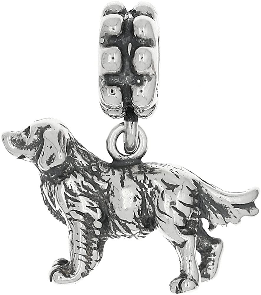 LGU Sterling Silver Oxidized Golden Retriever Dog Dangle Bead Charm
