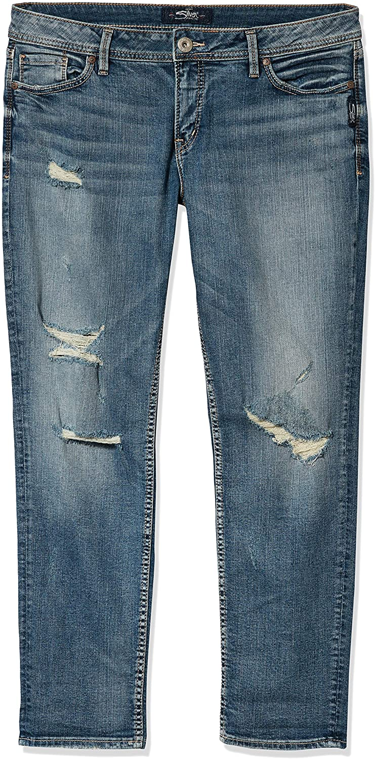 Silver Jeans Co. Women's Suki Curvy Fit Mid Rise Ankle Slim Jeans