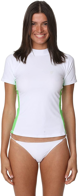 Women's UPF 50+ Short Sleeve Rash Guard Athletic Swim Top Sun Guard UV Protection Swimwear