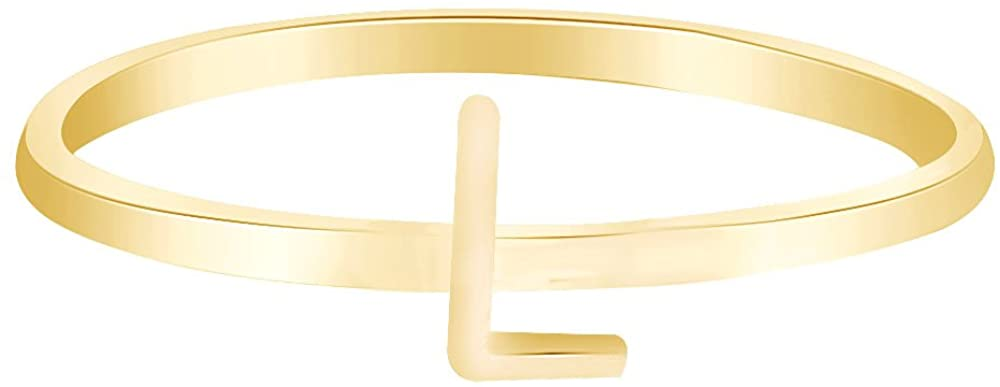 Wishrocks Christmas Holiday Sale Personalized Alphabets Letter A-Z Initial Stackable Ring 14K Yellow Sold Gold
