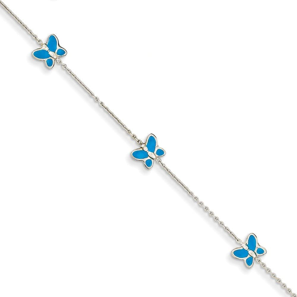 Jewelry Themed Anklets 14k White Gold Blue Enameled Butterfly Anklet