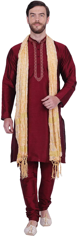 Maple Clothing Men's Art Silk Indian Kurta Pajama Set Party Wear Clothes