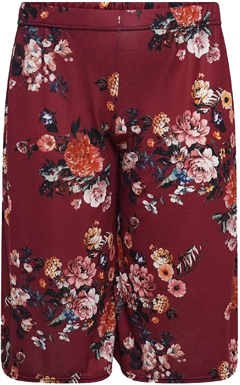 FASHION FAIRIES Womens Ladies Floral Print Wide Legs 3/4 Palazzo Elasticated Stretch Culottes