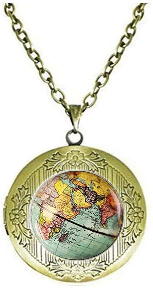 Globe Earth World Map Locket Necklace,Art Jewelry,Charm Jewelry Friend Gift