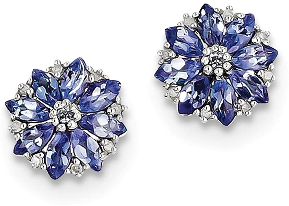 925 Sterling Silver Diamond & Simulated Tanzanite Post Studs Earrings (.05 cttw.) (10mm x 10mm)