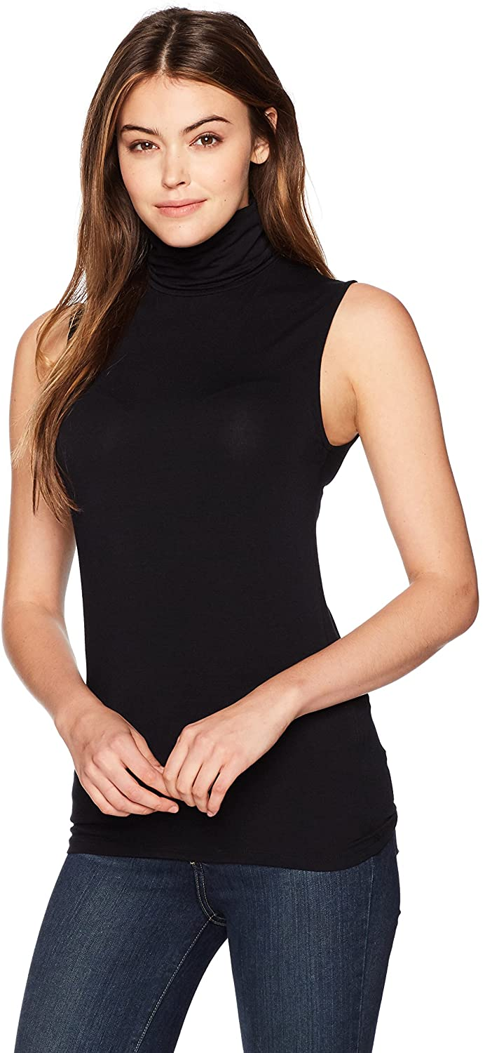 Majestic Filatures Womens Soft Touch Sleeveless Turtleneck